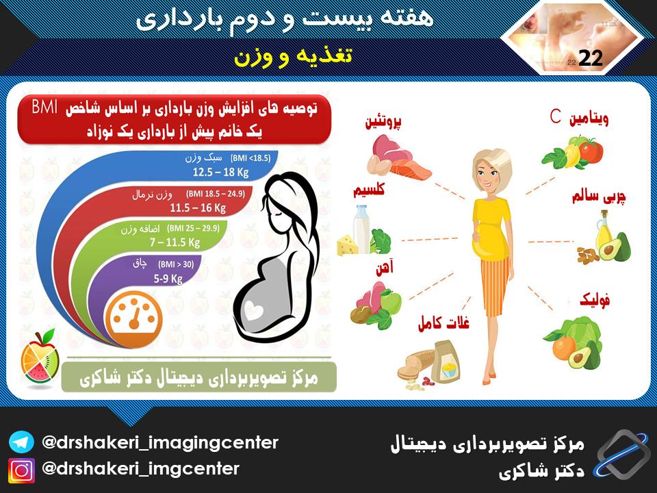 تغذیه و وزن هفته بیست و دوم بارداری
